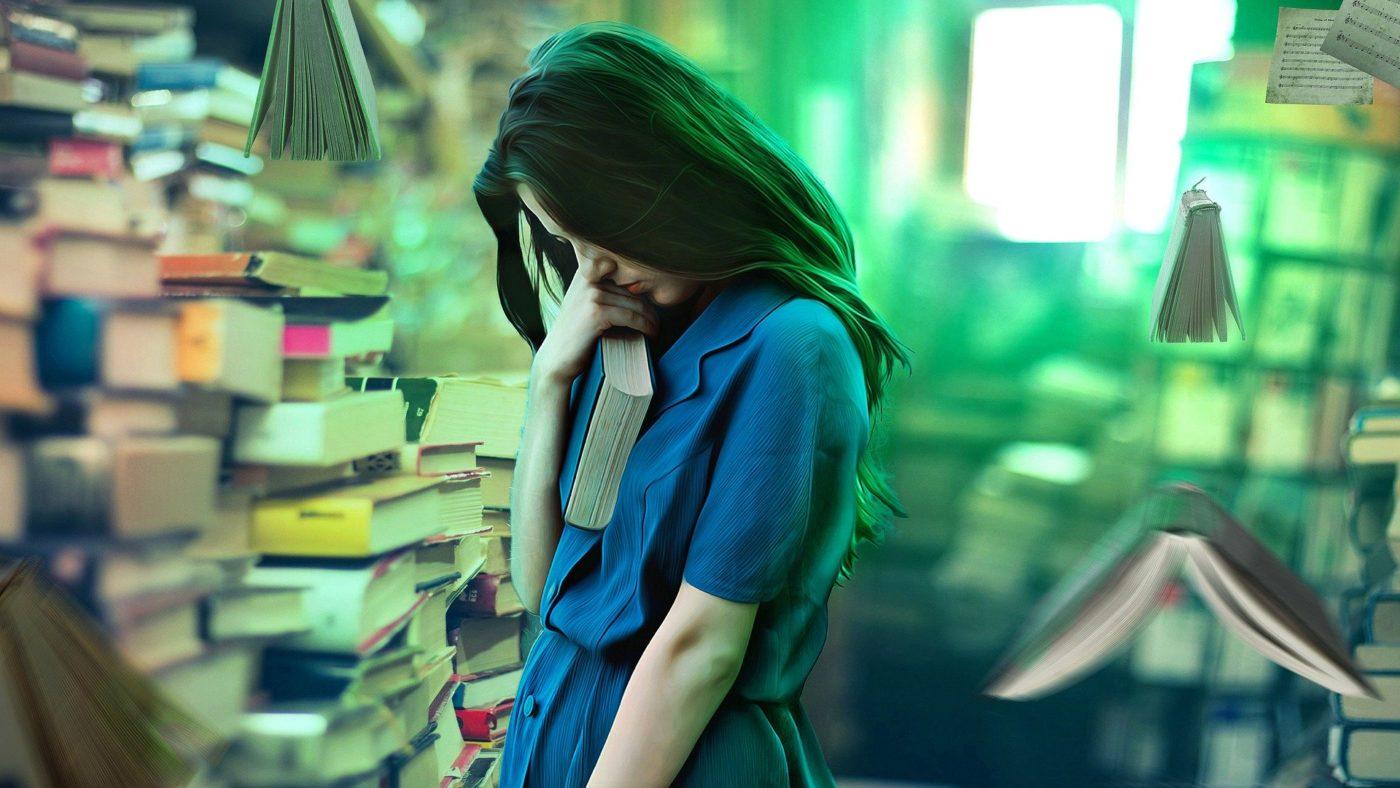 Mujer y lluvia de libros